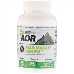 Advanced Orthomolecular Research AOR, Mag Malate Renew, 120 веганских капсул