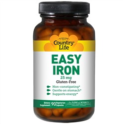 Country Life, Easy Iron, 25 мг, 90 вегетарианских капсул
